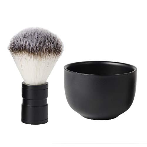Hellery 2pcs Bol Savon à Barbe + Brosse à Barbe Outils Rasage pour Hommes Barbiers Coiffeurs Professionnel