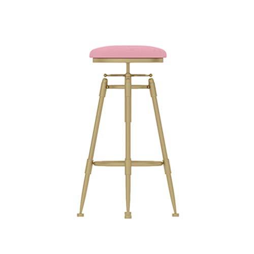 Sgabelli in Metallo di Sollevamento, Sgabello Decorativo per La Casa per Colazione Sgabello Alto da Bar Sgabello da Bar per Cucina, Sala da Pranzo - Altezza Sollevabile: 60-8(Size:60-80CM,Color:Rosa)