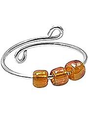 Spinner Fidget ring - ångestring pärlor för kvinnor eller män, sterling silver pärlring, fidget ångestring, anti-stress ångestring, justerbar stickning ögla, smycken gåvor för kvinnor