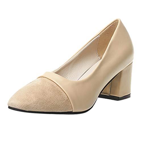 ZIYOU Damen Ballerinas Elegante, Basic Pumps Mary Jane Halbschuhe Low-up High Heel Blockabsatz Schuhe Einfarbig(Beige,36 EU)