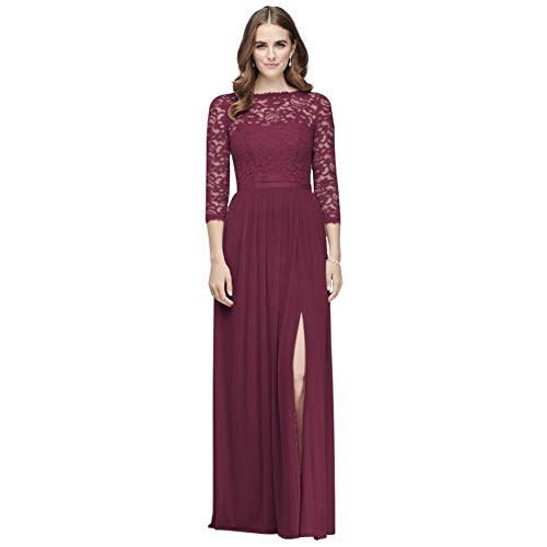 3/4-Sleeve Illusion Lace and Mesh Bridesmaid Dress Style F19908, Wine, 6