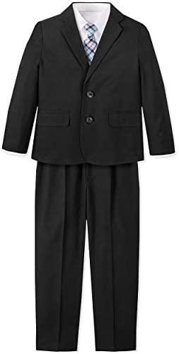 Nautica Boys Toddler 4 Piece Suit Set with Dress Shirt Tie Jacket and Pants Black Lilac 2T product image