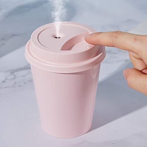 Coffee Cup Humidifier Air Portable Mini Cool Mist Humidifier for bedroom, Baby, Car, Gift design 300ml USB Two Spray Modes, Ultrasonic Humidifiers (Pink)