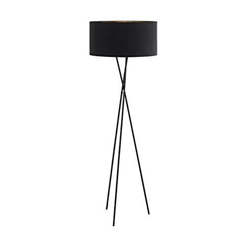 EGLO Stehlampe Fondachelli, Stehleuchte Modern, Standleuchte aus Stahl und Textil, Wohnzimmerlampe in Schwarz und Kupfer, Lampe mit Tritt-Schalter, Stofflampe mit E27 Fassung