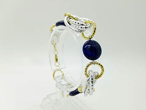 Jewel bracelet with lapis lazuli in silver and gold. Gift idea made in Italy