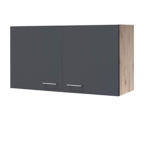 MMR Hängeschrank Küche LIVERPOOL - Küchenschrank - 2-türig - 100 cm breit - Basaltgrau Matt