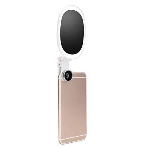 Universele clip-on selfie-lamp, draagbare zakspot voor telefoon, 2800-6500K mobiele telefoons en tablets Camera-videolamp met schoonheidsfunctie en HD-groothoekontwerp (lichtgevende cliplamp + lens)