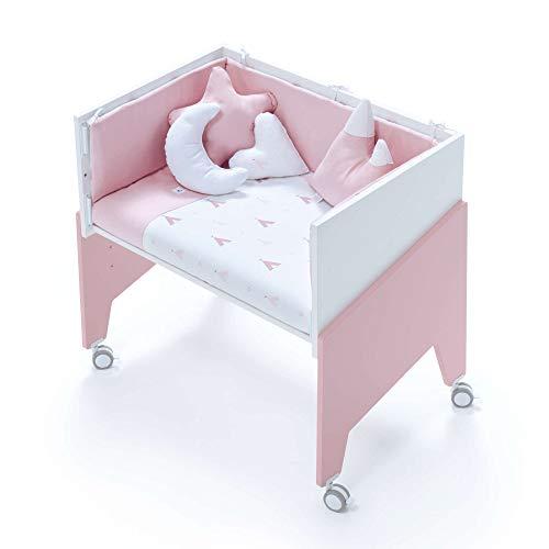 Alondra - Minicuna Colecho EQUO (5 etapas) Rosa + Set 3Textiles + Colchón antiahogo, convertible en: sillón + mesa + juguetero + colecho + minicuna) 7 alturas somier, modelo C1052-TX112 Indiana Rosa.