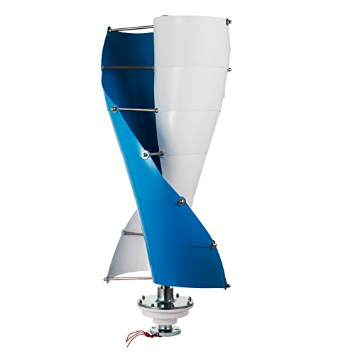 Happybuy Spiral Wind Turbine Generator Vertical Axis Type for Marine RV Homes Industrial Energy, 300W 12V, Blue White