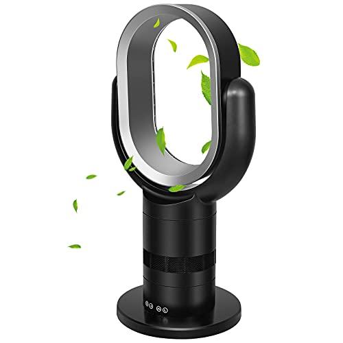 HealSmart Medium size portable bladeless fan, small table fan, 10 speeds settings, 10-hour timing closure bladeless fan, stylish and modern fan, low noise, lightweight, 24 inches, black