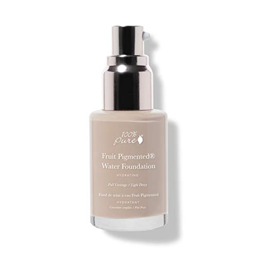100% PURE Water Foundation (Fruit Pigmented), Neutral 2.0, Full Coverage, Semi-Dewy Finish, For Normal, Dry Skin (Neutral w/ Peachy Undertones for Light Skin) - 1 Fl Oz