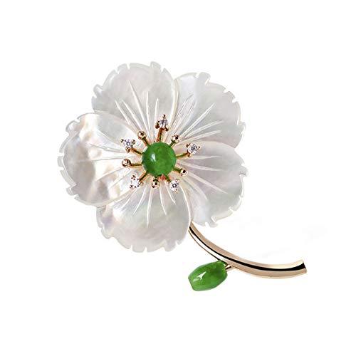 ZHBSS Natural Jade Brooch, sea Shell Brooch Accessories, Micro Inlaid Zircon Vintage Handmade Jewelry 5.0 * 3.3cm White