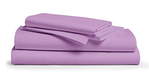 Bettlaken-Set aus 100 prozent Baumwolle, Fadenzahl 600, 4-teilig, langstapelig, atmungsaktiv, weich & seidig, für Matratzen bis zu 45,7 cm Tiefe (Lilac, Queen)
