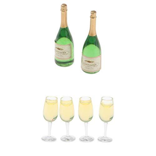 Fenteer Setzen von 2pcs bunt Wein Flaschen mit 4pcs Wein Glas Puppenhaus Miniatur 1/12 Maßstab