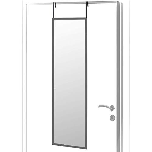 Espejo para Puerta Moderno, Acabado Brillo de PVC, para Dormitorio, sin Agujeros - Hogar y Más (Gris)