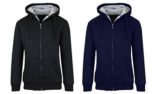 SMC 2PK Sherpa Lined Fleece Heavy Weight Hoodies, Black/Navy, Large