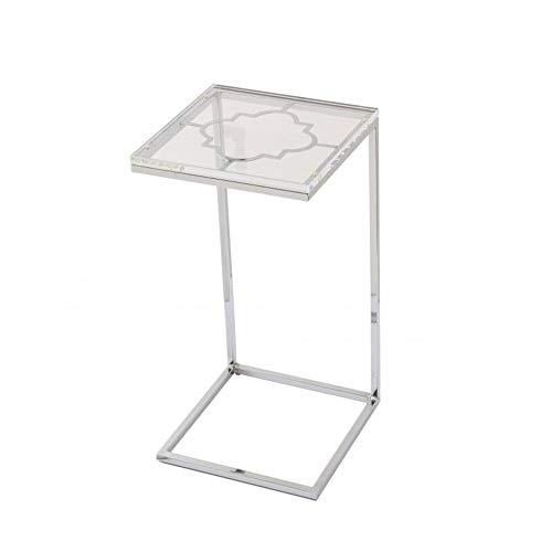 JCNFA BIJZETTAFEL Acryl Computertafel, C-type Salontafel, Metalen Chromen Frame, Woonkamer Vierkante Sofa Bijzettafel (Color : White, Size : 12.99 * 12.99 * 25.19in)