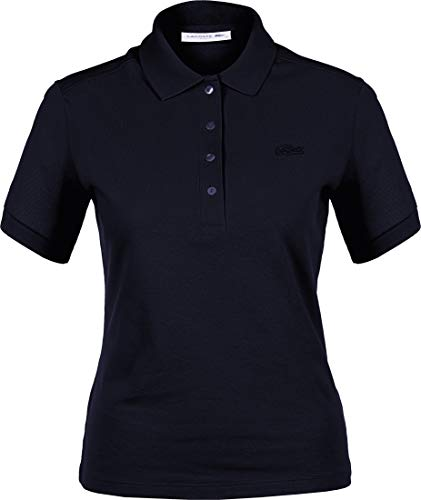 Lacoste Femme Polo Manches Courtes PF0503, Dame Polo,3 Boutons,Taille Normale,Navy Blue (166),48 EU