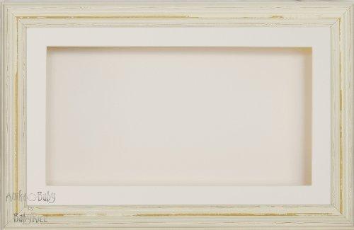 BabyRice Anika-Baby écran 17,8 x 33 cm/33 x 17,8 cm Boîte en Bois Cadre en Style Shabby Chic Crème Finition Bois avec Carte Passe-Partout crème et Carte de Dos, façade en Verre 36,8 x 21,6 cm