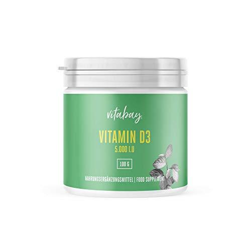Vitamina D3 1,000 I.U. - Depot 5.000 Units - polvo vegano de líquenes - 365 porciones sin cápsulas