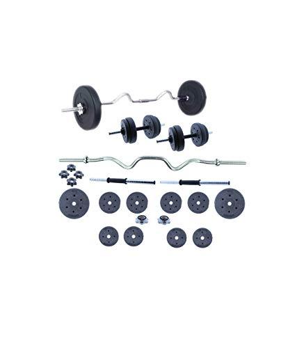 Grupo K-2 | Set de Musculación | Conjunto de Pesas, Barra y Discos 30 KG | Unisex | Entrenamiento de Fitness | Ejercicios de Gimnasio en Casa