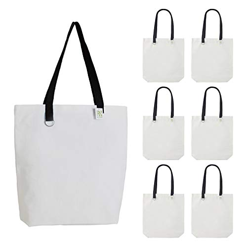 RK ROCHI KOLORI 12oz Heavy Duty Canvas bags-6 pack-15'H x 16'W x 4'D, 28' Long Handle, Flat bottom, Eco-friendly Reusable & Washable Grocery Bags with Inner Zip Closure Pocket, Great for DIY Craft