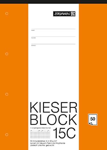 Arbeitsblock Kieser Lin 15 A4/50 chlorfrei 5 mm kariert