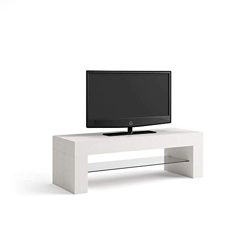 Mobilifiver Porta TV Evolution, Frassino Bianco, 112 x 40 x 36 cm, Nobilitato/Vetro, Made in Italy, Disponibile in Vari Colori