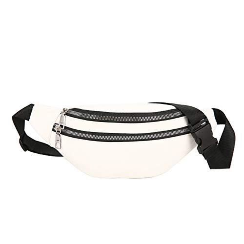 Hüfttasche Hipster Crossbody Tasche für Unisex/Skxinn Sport Bauchtasche Umhängetasche Gürteltasche - geeignet für alle Outdoor-Aktivitäten -Double Reißverschluss - für Handy und Wertsachen(Weiß)