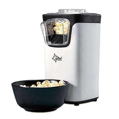 SUNTEC Heißluft Popcornmaschine POP-8618 Fat Free | Popcorn ohne Fett und Öl | Popcorn-Maschine für Zuhause | Popcorn süß oder salzig | Platzsparender Mini Popcorn-Maker | Maschine mit Deckel