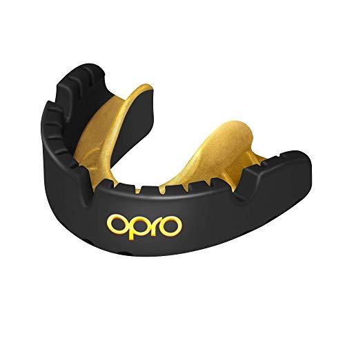 Opro Mundschutz Gold Ortho - Zahnschutzfür Zahnspangen-Träger - für Rugby, Hockey, MMA, Boxen, Lacrosse, American Football, Basketball - selbst anformbar - im UK entworfen & hergestellt (Schwarz.)