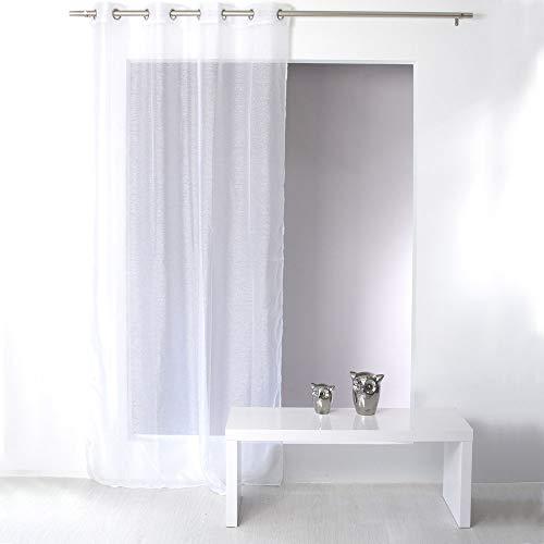 Enjoy Home Voilage à Oeillets 140 x 240 cm SABLUTHEO Voile sablé Coloris Blanc