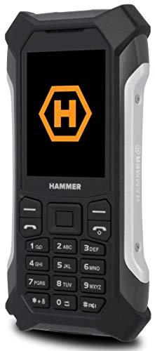 Hammer Patriot Outdoor Handy Tastenhandy ohne Vertrag, Baustellenhandy 2.4 Zoll Farbdisplay, Robust, Mega Batterie 1800 mAh, Wasserdicht (IP68), Stoßfest, Taschenlampe, Dual SIM - Silber