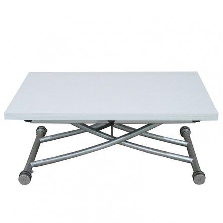 Table Basse relevable à Plateau & allonge dépliable Clever XL - Laqué Blanc Brillant