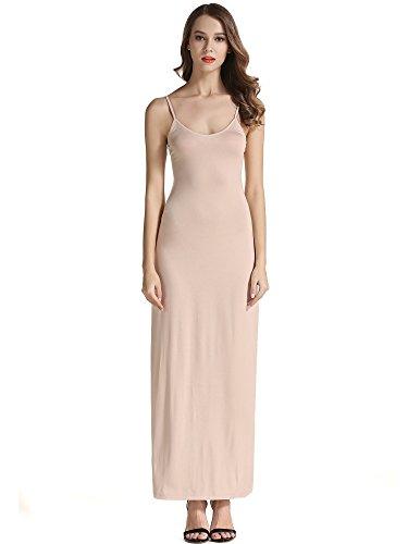 VETIOR Women's Adjustable Spaghetti Straps Long Cami Slip Dress (Medium, Nude)