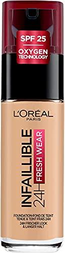 L'Oréal Paris Make up, Wasserfest und langanhaltend, Flüssige Foundation mit LSF 25, Infaillible 24H Fresh Wear Make-up, Nr. 200 Golden Sand, 30 ml
