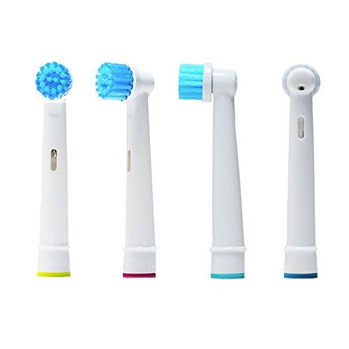 Oral-Q EBS17-4 Stks Elektrische Tandenborstel Hoofden Vervanging Compatibel met Braun Orale Q 3D Gevoelige Clean