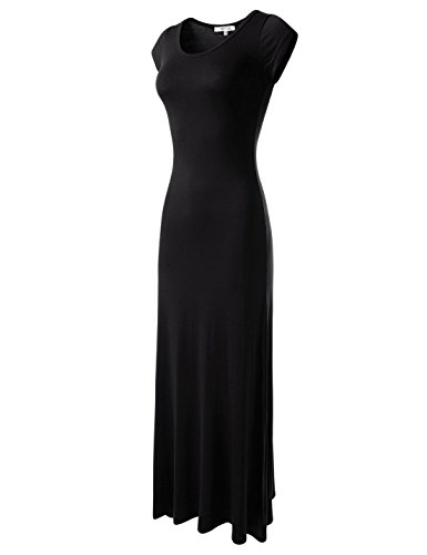 TheLees (WLD04271) Fitted Soft Stretchy Cap Sleeve Casual One-Piece Solid Maxi Dress Black X-Large(Tag Size 2XL)