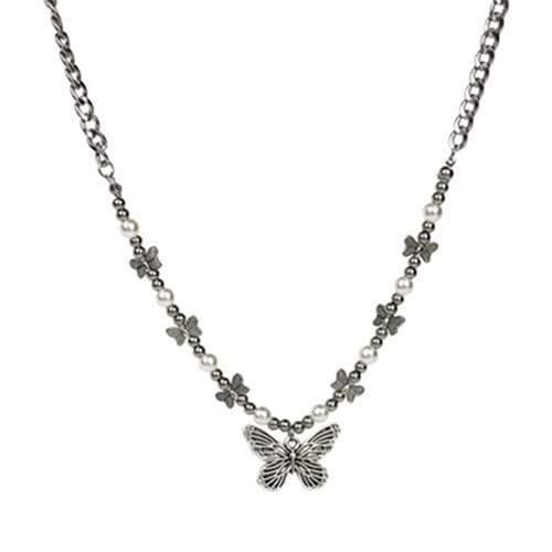XIGAWAY Collar con colgante de mariposa gótica para mujer gargantilla estética hippop perla cadena