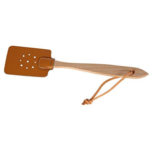 Bütic Kinder Leder-Fliegenklatsche mit Holzstiel Lederband