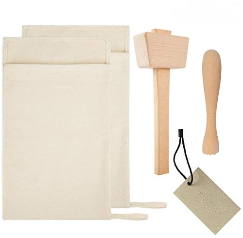 Pack of 2 Professional Lewis Bags and 1 Piece Ice Mallet,1pc Muddler Bar Tool Set Reusable Canvas Crushed Ice Bags for Home Party Bar Kitchen Dried Ice Crushing