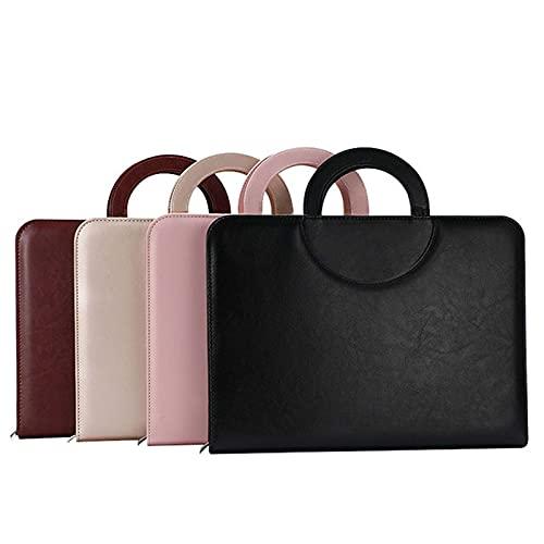 Cartella per conferenze in pelle PU con manico magnetico per interviste, borsa per documenti con portapenne impermeabile portafoglio aziendale Notepad organizzatore (marrone)