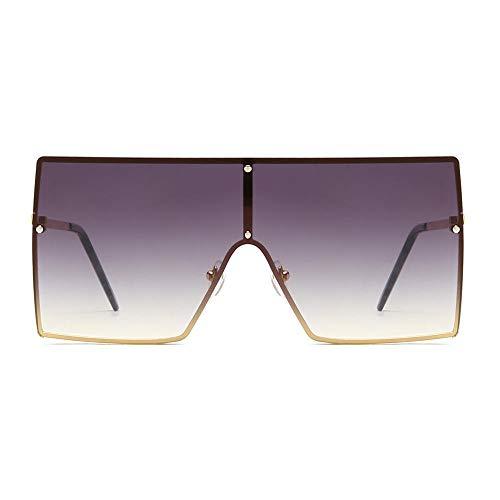 hqpaper Gafas de sol de montura grande con montura cuadrada, gafas de sol de tendencia de moda, gafas de sol explosivas para mujer, montura dorada descolorida