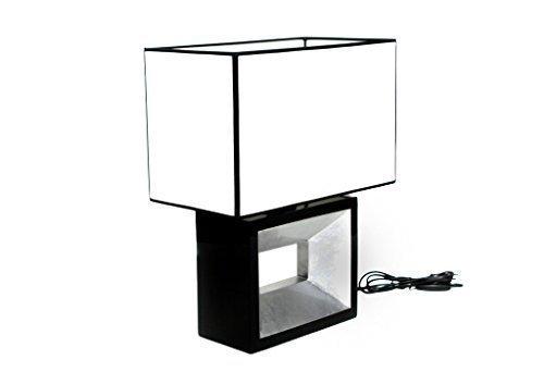 Brillibrum B-Ware Tischlampe Lampenfuß Schwarz/Silber Lackiert Handmade Design Nachttisch-Lampe Stoff Lampenschirm Weiß E27 40 Watt