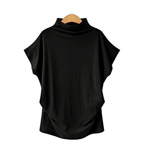 """WSLCN Damen T-Shirts Sommer Kurzarm Tunika Locker Stehkragen Einfarbig Tops Baumwolle Freizeit T Shirt Schwarz 6XL : Brust 132cm/52.0\"""""""