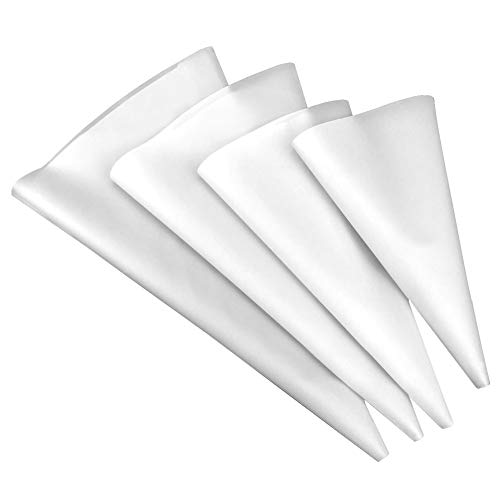 4 Sizes Silicone Cake Pastry Bag, Reusable Icing Piping Bag Baking tool Cupcake Cookie Decorating Bags for Professional Baker Baking Lover (white)