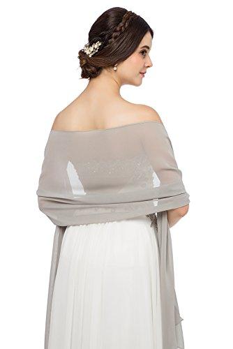 JAEDEN Stola Chiffon Schal für Brautkleid Abendkleider Ballkleider Hochzeitskleider in verschiedenen Farben 45cmx220cm Dark Silver