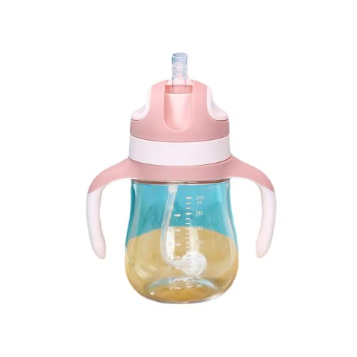 Baby Weighted Straw Sippy Cup, Toddler Straw Cups, Baby Cup, Baby Learner Cup with Handles, Learner's Cup with Soft Silicone Spout, Leak-Proof, Spill-Proof, Break-Proof Cups for Toddlers Infant, 9 Oz