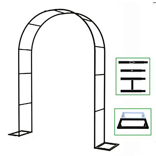 WXZX Arco Piante Rampicanti,Rose Arches Arbor Flower Stand con Base,Arco per Piante in Metallo,per Piante Rampicanti Supporto Archway Garden Decoration Wedding Lawn(W120xH220cm/W48xH87in-Black)