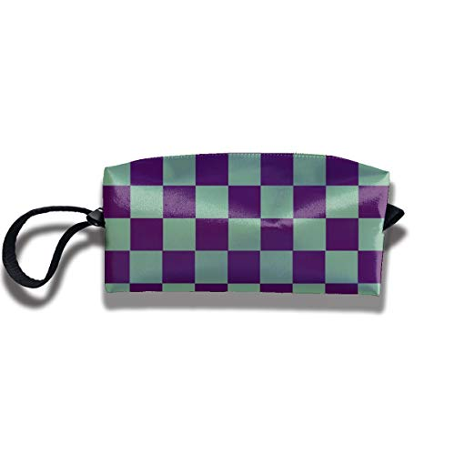 Bbhappiness Pouch Handbag Cosmetics Bag Case Purse Travel & Home Portable Make-up Receive Bag Moss Green And Purple Checkerboard